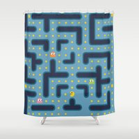pacman Shower Curtains featuring RETRO GAME by Vickn