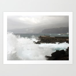 stormy weather and waves tenerife Art Print