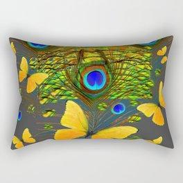 GREEN PEACOCK FEATHERS YELLOW BUTTERFLIES Rectangular Pillow