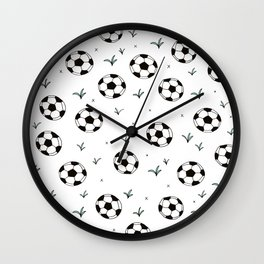 Fun grass and soccer ball sports illustration pattern Wall Clock