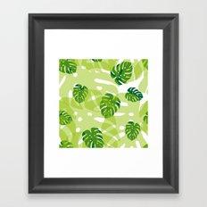 green monstera jungle Framed Art Print