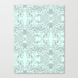 Dotted Floral Scroll in Mint and Grey Canvas Print