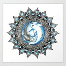 Yin and Yang Butterfly Koi Fish Mandala Art Print