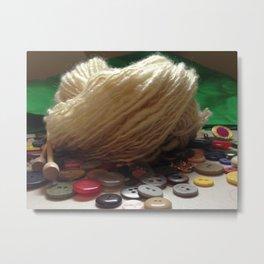 Handspun Yarn in a Field of Buttons Metal Print