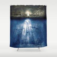 dolphins Shower Curtains featuring dolphins, civilization. by Viviana Gonzalez