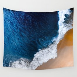 Prussian Blue Water Meets Sand Beach Aerial Landscape Wall Tapestry