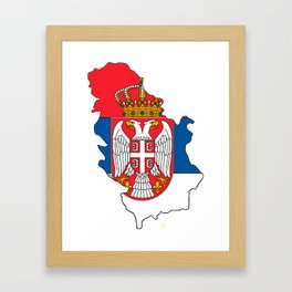 Serbia Map with Serbian Flag Framed Art Print