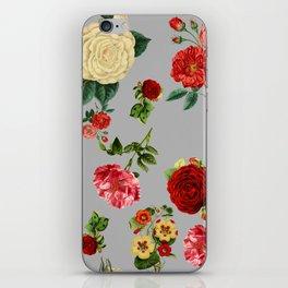 Grey vintage roses iPhone Skin