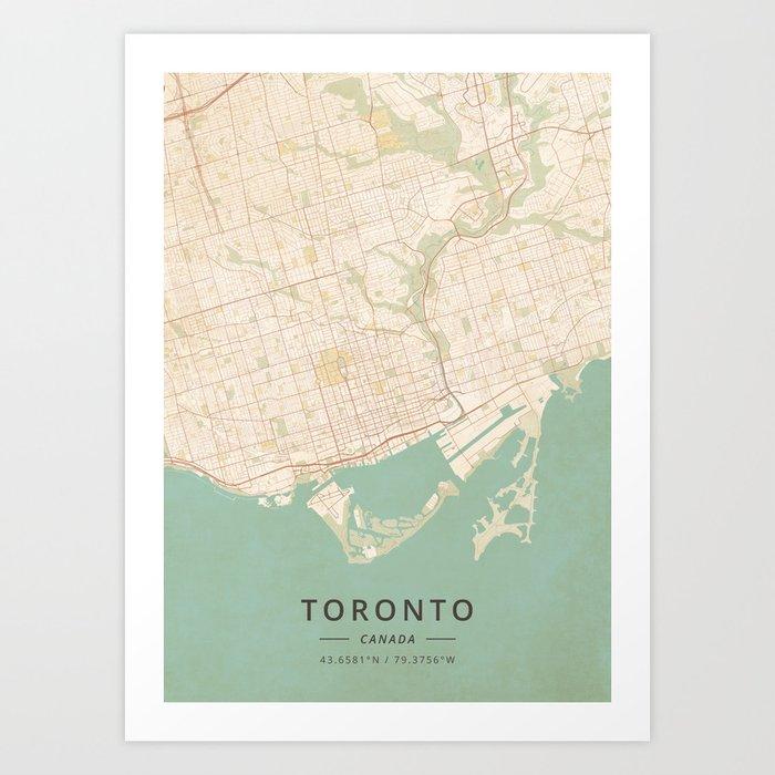Toronto, Canada - Vintage Map Art Print by designermapart on map of philadelphia, map of california, shopping toronto canada, tourism toronto canada, map of hong kong, house toronto canada, hotels in toronto canada, road map toronto canada, provinces of canada, map of ohio, cn tower toronto canada, weather toronto canada, ontario canada, map of japan, map of usa, map of new york, map of istanbul turkey, map of las vegas, wonder mountain toronto canada, landmarks toronto canada,