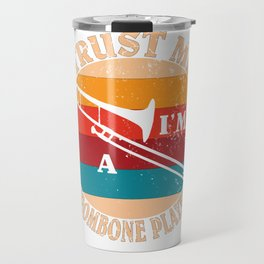Brass Musical Instrument - Funny Retro Trombone Player Gift Travel Mug