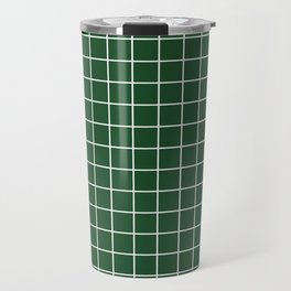 Cal Poly Pomona green - green color - White Lines Grid Pattern Travel Mug