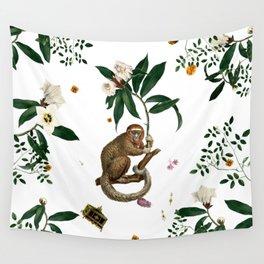 Monkey World: Amber-Ella - White Wall Tapestry
