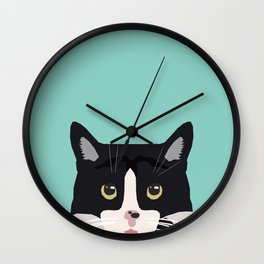 Black and White Cat - cat lady art, cat art, cats, black and white cat Wall Clock