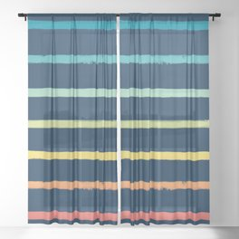 Blue Festival Rainbow Stripe Sheer Curtain