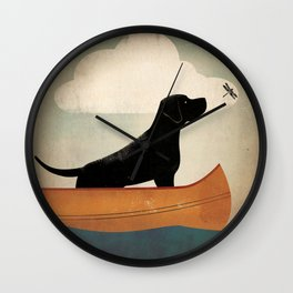 Black Lab Labrador Retriever Dog Canoe Ride Wall Clock