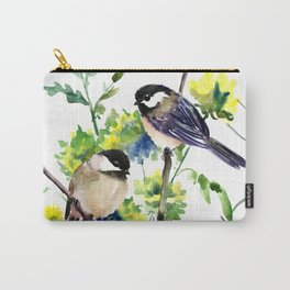 chickadees and Spring Blossom Carry-All Pouch