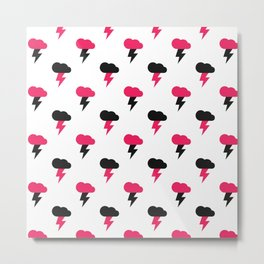 Pink and Black Thunderclouds Pattern Metal Print