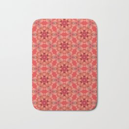 Coral Floral Pattern Abstract Tiled Print Bath Mat