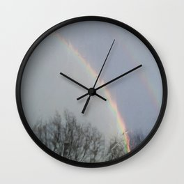 tow rainbows out there Wall Clock