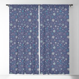 Memphis style abstract in blue tone Blackout Curtain