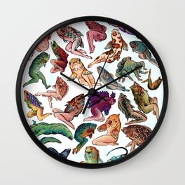 Reverse Mermaids Wall Clock