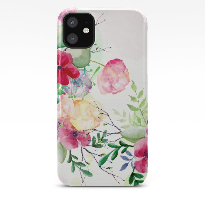 Vintage Flowers Watercolor Floral Painting Iphone Case By Cadinera