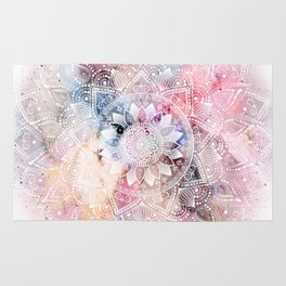Whimsical white watercolor mandala design Rug