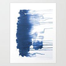 Paint 1 - indigo blue drip abstract painting modern minimal trendy home decor dorm college art Art Print