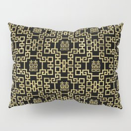 Chinese Pattern Double Happiness Symbol Gold on Black Pillow Sham