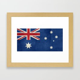 The National flag of Australia, retro textured version (authentic scale 1:2) Framed Art Print
