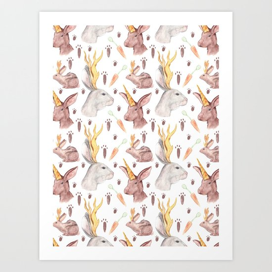 Mythical Rabbits Art Print