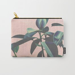 Pink Tropical Leaves Carry-All Pouch