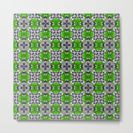 Spring Green and White Repeat Tile Pattern Metal Print