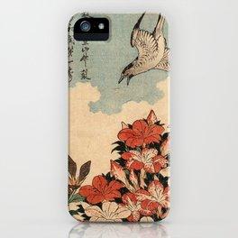 Hokusai Cuckoo and azaleas -hokusai,manga,japan,Katsushika,cuckoo,azaleas,Rhododendron iPhone Case