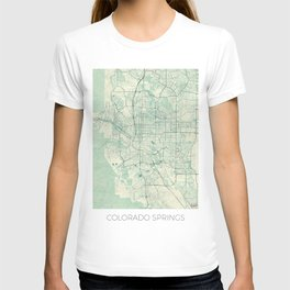 Colorado Springs Map Blue Vintage T-shirt