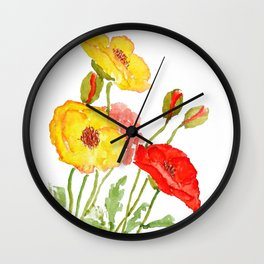red and yellow  poppies Wall Clock
