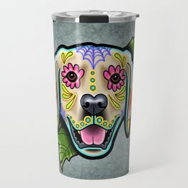 Golden Retriever - Day of the Dead Sugar Skull Dog Travel Mug