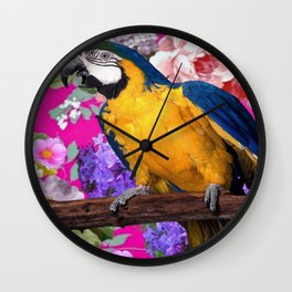 Blue & Gold Macaw Parrot Fuchsia Pink Floral Wall Clock