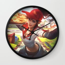 Pizza Delivery Sivir League Of Legends Wall Clock