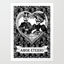 Amor Eterno | Eternal Love | Calavera Couple | Black and White | Art Print