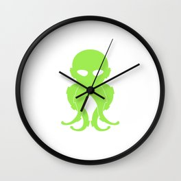Lovecraftian Styled Octopus Logo - Green Wall Clock