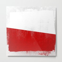 Polish Distressed Halftone Denim Flag Metal Print