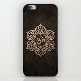 Aged Stone Lotus Flower Yoga Om iPhone Skin
