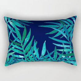 Watercolor Palm Leaves on Navy Rectangular Pillow