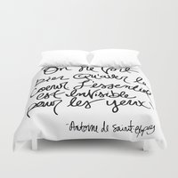 little prince Duvet Covers featuring The Little Prince Quote by Johanna Huerta & Toni Seely
