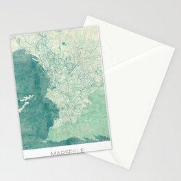 Marseille Map Blue Vintage Stationery Cards