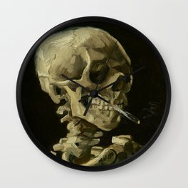 Vincent Van Gogh Skull of a Skeleton with Burning Cigarette Wall Clock