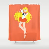 sailor venus Shower Curtains featuring Sailor Venus (Orange) by karla estrada