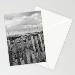 Black and White Beach Fence Stationery Cards