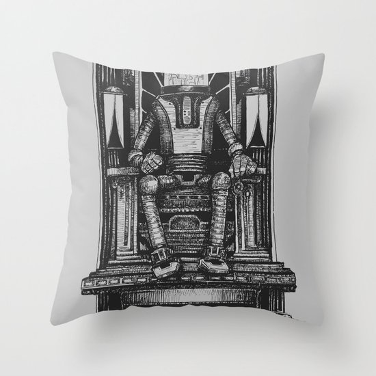 Pax Robota - B&W Throw Pillow